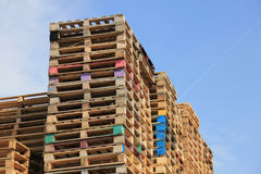 Stacked wooden pallets Royalty Free Stock Images