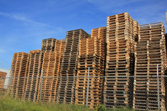 Stacked wooden pallets Stock Photos