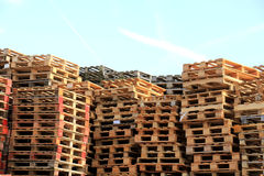 Stacked wooden pallets Stock Images