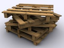 Stacked wooden pallets. Stacked wooden pallet on white background Royalty Free Stock Photography
