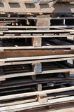 Stacked wooden pallets. Royalty Free Stock Photos