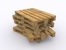 Stacked wooden pallets. On white background Stock Images