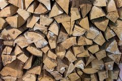 Stacked woodpile. Texture of the firewood. Stacked woodpile Stock Photography
