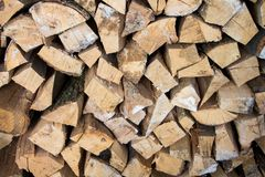 Stacked woodpile. Texture of the firewood. Stacked woodpile Stock Image