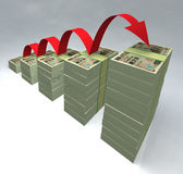 Stacked yen bills 3D Stock Images