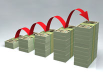 Stacked yen bills 3D Royalty Free Stock Photography