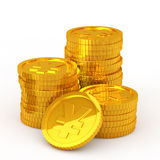The stacked yen coins Stock Image