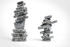 Stacked zen stones. Two stacks of stones balanced in zen style Stock Image