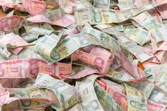 Stacking of a banknote type of thai currency Stock Images
