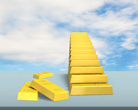 Stacking bullion in stairs shape on desk Stock Image
