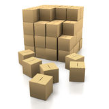 Stacking cardboard boxes Royalty Free Stock Photo