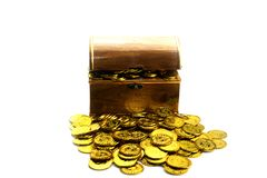 Gold Coin in treasure chest on white background royalty free stock photo