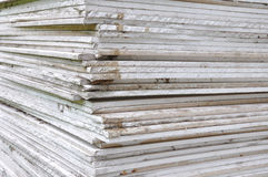 Stacking of gypsum sheets. For background Stock Photos