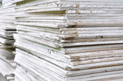 Stacking of gypsum sheets royalty free stock photos