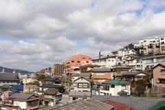 The stacking houses around Nagasaki hilly area royalty free stock photo