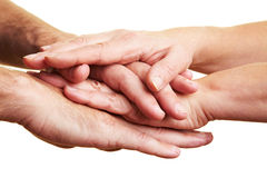 Stacking many hands Stock Photography