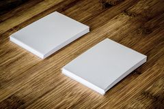 Stacking of mockup empty white business card with elegance pen royalty free stock photography
