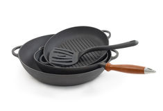Stacking of nonstick frying pans Stock Photography
