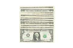 Stacking one dollar banknote. On isolate background royalty free stock image