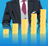 Stacking profits business concept. Confident businessman in business stack column of gold coins on mirror table. Concept of success, investment, profitable Royalty Free Stock Photo