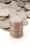Stacking quarters Royalty Free Stock Images