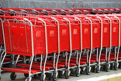 Stacking red shopping cart in a row. Stacking shopping cart in a row Stock Images
