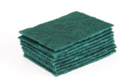 Stacking scouring pads for kitchen cleaning Royalty Free Stock Image