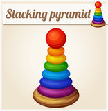 Stacking toy pyramid. Cartoon vector illustration Royalty Free Stock Images