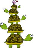 Stacking turtles and bird Royalty Free Stock Photography