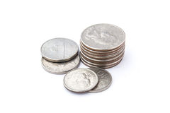 Stacking US coins Royalty Free Stock Photo