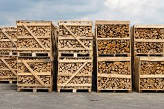 Stacking wood for firewood Royalty Free Stock Photos