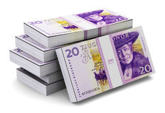 Stacks of 20 Swedish krones Royalty Free Stock Image