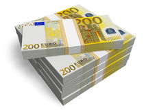 Stacks of 200 Euro banknotes. Isolated on white background Royalty Free Stock Photography