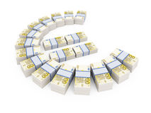 Stacks of 200 Euro currency notes. Stacks of 100 Euro currency notes isolated on white Stock Images