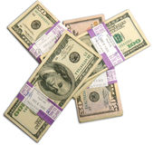 Stacks of 50 and 100 Dollar American bills Stock Photo