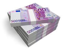 Stacks of 500 Euro banknotes. Isolated on white background Royalty Free Stock Photos