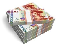 Stacks of 500 Swedish krona banknotes Royalty Free Stock Photos