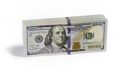 Stacks of American dollar bills. Big stack of brand new American dollar bills on white background Stock Images