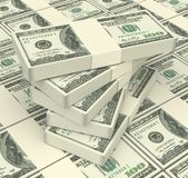Stacks of american dollars money. Royalty Free Stock Images