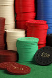 Stacks of antique poker chips Stock Images