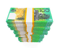 Stacks of 100 Australian Dollar Banknotes Stock Photo