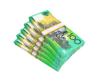 Stacks of 100 Australian Dollar Banknotes. Isolated on white background. 3D render Royalty Free Illustration