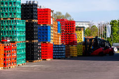 Stacks of beverage bottle crates Stock Photography