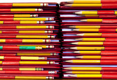 Stacks of binders and pencils. Stock Photos