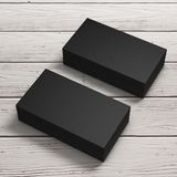 Stacks of Black Blank Business Cards. 3d Rendering. Stacks of Black Blank Business Cards on a wooden table. 3d Rendering vector illustration