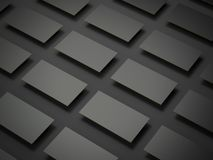 Stacks of black business cards. 3d rendering. Stacks of black business cards on a dark background. 3d rendering Royalty Free Stock Photos