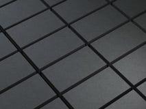 Stacks of Black Business cards. In dark studio, 3d rendering vector illustration