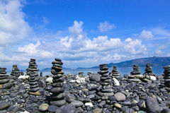 Stacks of black stone at Kho Hin Ngam,Thailand Stock Image