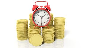 Stacks of blank golden coins and alarm clock Royalty Free Stock Images