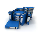 Stacks of blue ring binders Stock Photo